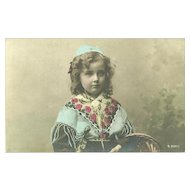 Vintage Post Card Postcard Real Tinted Photograph Charming Little Girl in Costume