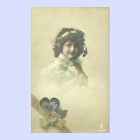 Charming Tinted Real Photograph of Sweet Little Girl Made in Germany