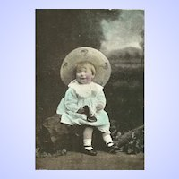 Charming Vintage Real Photograph Post Card Postcard Little Girl Wearing Bonnet