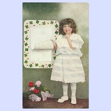 Charming Vintage Post Card Postcard Little Girl