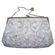 Pretty Micro Seed Glass Bead Floral Pattern Evening Bag Purse