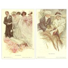 Lot of 5 HARRISON FISHER Post Cards 1911 REINTHAL NEWMAN Wedding Marriage Proposal HoneyMoon