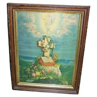 Large Framed Religious Art Print The Ascension Bible Cross