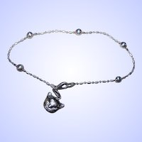 Delicate Vintage Sterling Silver 925 Ball Anklet with Kitty Cat