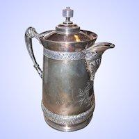 A Rare Find  Meriden Silver Plate Water / Tea Pot Hunters Bear , Floral Walrus Motif