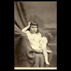 A Vintage Cabinet Card Photo Sweet Little Girl Cross Crucifix Necklace Palace  R.R. Photography Car Co.