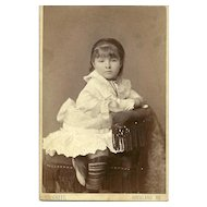 Sweet Little Girl Ruffly Dress Striped Stocking Cabinet Card Photograph