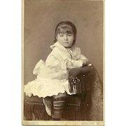 Sweet Little Girl Ruffly Dress Striped Stocking Cabinet Card Photograph