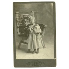 Vintage Cabinet Photograph Card Charming Little Girl All Dressed Up