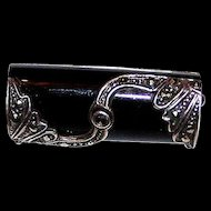 925 Sterling Black Onyx & Marcasite Deco Style Pin/ Brooch