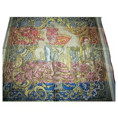 Small Vintage Colorful Tapestry Featuring Marie Antoinette