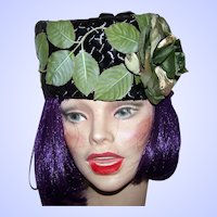 Pretty Black Pill Box Style Hat Fascinator Original by Leopold  Montreal Canada
