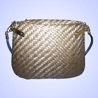 Vintage 1960's era Golden  Woven Plastic  Wicker Purse Clutch by Lewis MI Italy