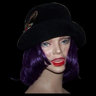 Vintage Ladies Fashion Fedora Style  Hat Finest Imported Velour with real Feather