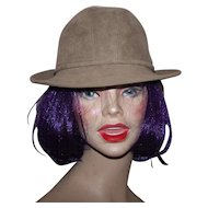 A Lovely Canadian Designer Anita Pineault Beige Faux Suede  Women  Fashion Hat