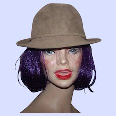 A Lovely Canadian Designer Anita Pineault Beige Faux Suede  Women  Fashion Hat