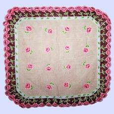 Pretty Vintage Delicate Linen Hanky Hankie Pink Rose Flower Pattern