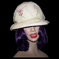 Ladies Off White Creme  Wedding Hat - Embroidered Flower Appliques Netting and Grosgrain Ribbon