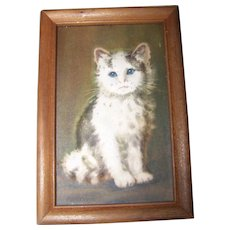 Dimensional Small Framed Kitty Cat Wall Art Treasures Sculpto Print Style
