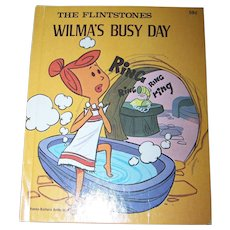 "The Flintstones "" Wilma's Busy Day "" Hanna-Barbera Authorized Edition Deluxe Wonder Books C. 1976"