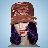 Ladies Vintage Bucket Style Velvety Velour & Silky Satin Hat by Elizabeth