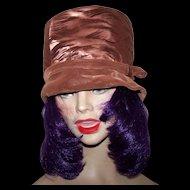 Ladies Vintage Bucket Style Velvety Velour & Silky Satin Hat by Elizabeth