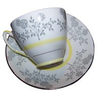 Pretty Floral Pattern Vintage Tea Cup Saucer Set Royal Stafford MI England White Yellow Gray