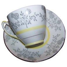 Pretty Floral Pattern Vintage Tea Cup Saucer Set Royal Stafford MI England White Yellow Gray