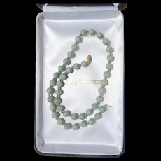 "Vintage 20th Century 17"" Jadeite Green Bead Necklace 14K Gold Clasp"