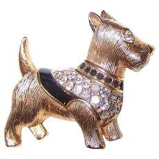 Designer Signed SWAROVSKI Terrier  Scottie Dog Brooch  Pin  Swan Hallmark