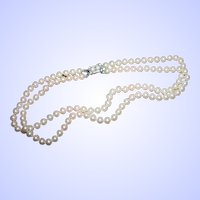Deco Style Designer Signed  Vendome Glass Pearl Hand Knotted Double Strand Necklace