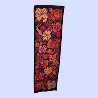 Fun Flower Power Vintage Retro Floral Pop Art Style Poly Silk Rectangular Scarf