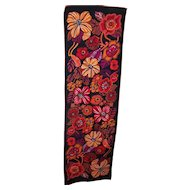 Fun Flower Power Vintage Retro Floral Pop Art Style Poly Silk Rectangular Scarf