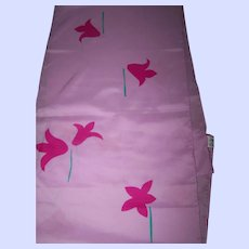 Pretty Long Rectangular Designer Signed Vera Polyester Scarf Floral Pattern