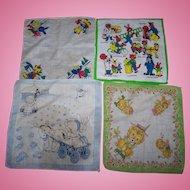 A Lovely Lot of 4 Vintage Children's  Handkerchief Assortment