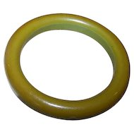 Vintage Green Bakelite Bangle Tested Positive Great Patina