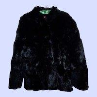 Vintage Retro Black Rabbit Fur Jacket Size Women's Large
