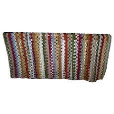 Lovely Cheerful Vintage Hand Made Crochet  Blanket