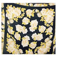 Gorgeous Large Black & Yellow Rose Floral Print Ladies Fashion Scarf