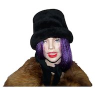 Vintage 1960's Mad Men  Era  Plush Faux Fur Winter Hat with Neck Tie Scarf