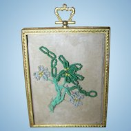 Rescued Glass Bead Immortalles  Floral Decoration Frame Convex Glass Brass Decorative Frame