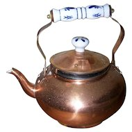 Small Copper Metal Ware Kettle Blue & White Ceramic Handle