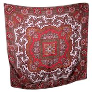 Beautiful Vintage Hand Rolled Poly Silk Paisley Pattern Ladies Small Fashion Scarf