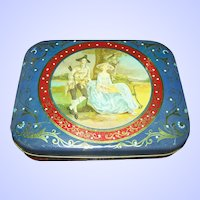 Decorative  Tin Litho Italcima Milano Made In Italy Tin Couple Portrait