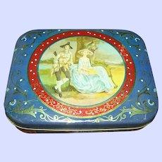 Decorative  Tin Litho Italcima Milano Made In Italy Tin Couple Portrait