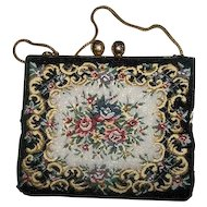 A Vintage Decorative Needle Point Tapestry Glass Bead Purse Hong Kong Oh So Pretty