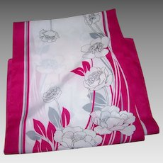 A Pretty Long Rectangular Floral Pattern Polyester Scarf Made in Italy