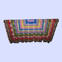 Hand Crafted Vintage Crochet Blanket Oh So Colorful & Bright