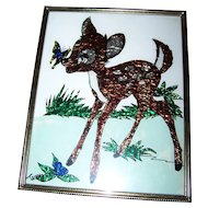 Vintage Framed Foil Art of Walt Disney's Animation Character BAMBI Signed Terry