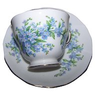 Lovely Vintage Royal Vale  Bone China For-Get-Me-Not Floral Tea Cup Saucer Set